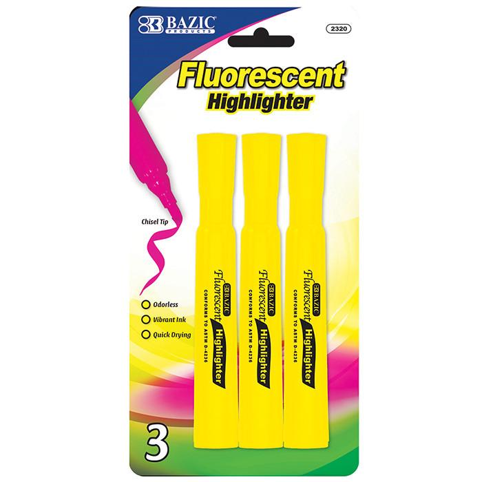 Yellow Desk Style Fluorescent Highlighters (3/Pack)