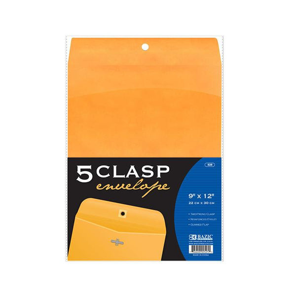 "9"" X 12"" Clasp Envelope (5/Pack)"