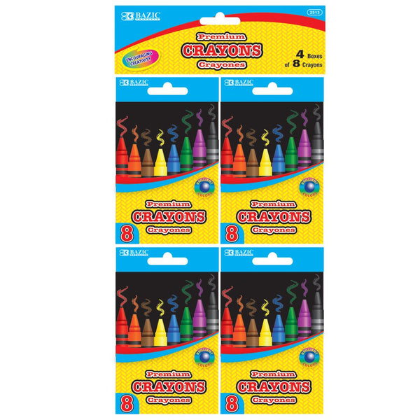 8 Color Premium Quality Crayons (4/Pack)