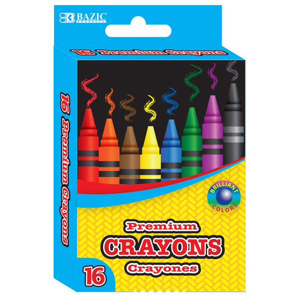 16 Color Premium Quality Crayons 2/Pack