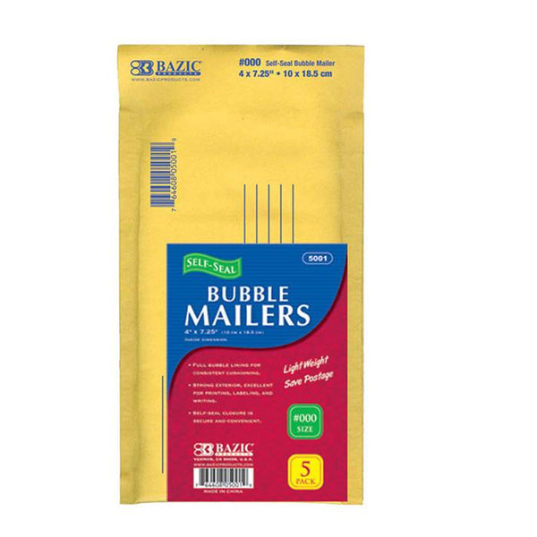 "4"" X 7.25"" (#000) Self-Seal Bubble Mailers (5/Pack)"