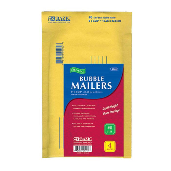 "6"" X 9.25"" (#0) Self-Seal Bubble Mailers (4/Pack)"