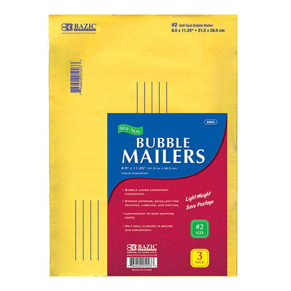 "8.5"" X 11.25"" (#2) Self-Seal Bubble Mailers (3/Pack)"