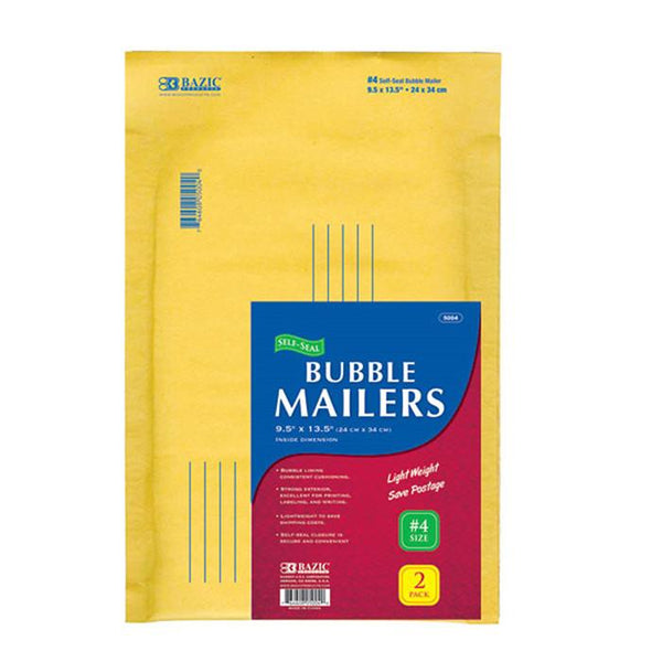 "9.5"" X 13.5"" (#4) Self-Seal Bubble Mailers (2/Pack)"