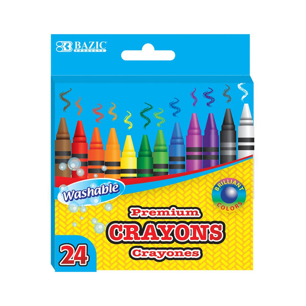24 Color Washable Premium Quality Crayons