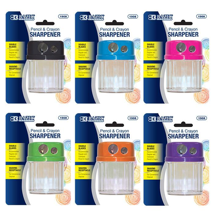 Dual Blades Sharpener W/ Round Receptacle, 1-Pack