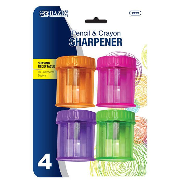 Single Hole Sharpener W/ Round Receptacle (4/Pack)