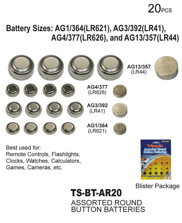 Trisonic Assorted Round Button Batteries, 20-ct.