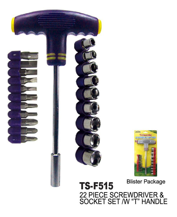 Screwdriver Set With T-Handle, 22-ct.