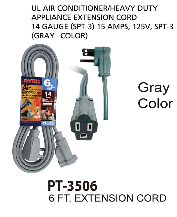 Air Conditioner Appliance Extension Cord 14 Gauge, 6 ft.