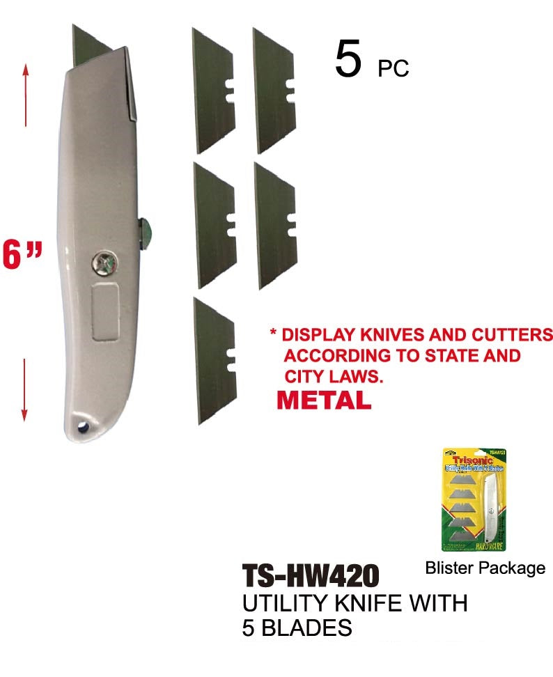 Utility Knife With 5 Blades