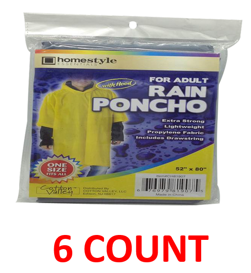 "Rain Poncho With Hood For Adults, 52"" x 80"", 6-ct."