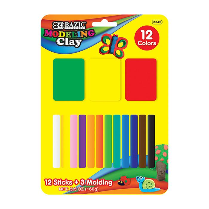 12 Color 160g Modeling Clay Sticks + 3 Molding