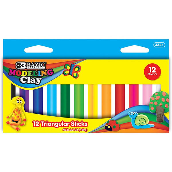 12 Colors 180g Triangular Modeling Clay Sticks