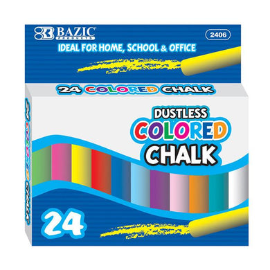 Dustless Assorted Color Chalk (24/Box)