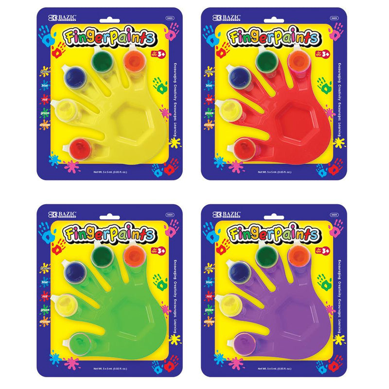 5 Colors 5 ml Finger Paint W/ Hand Shaped Mixing Tray, 1-Pack