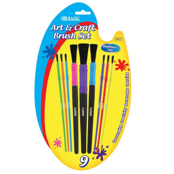 Asst. Size Kid's Watercolor Paint Brush Set (9/Pack)