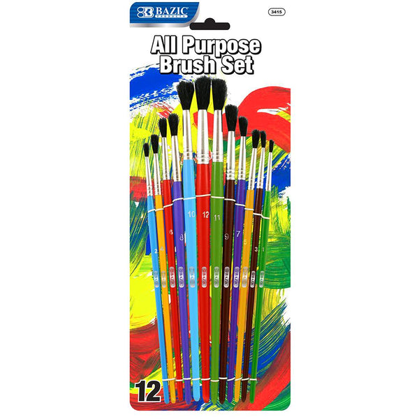 Asst. Size Paint Brush Set (12/Pack)