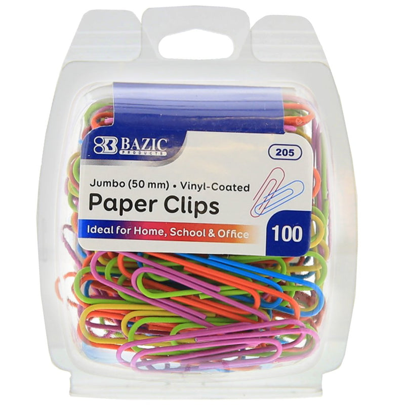 Jumbo (50mm) Color Paper Clips (100/Pack)