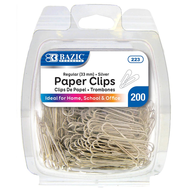 No.1 Regular (33mm) Silver Paper Clips (200/Pack)