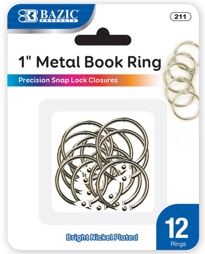 "1"" Metal Book Rings (12/Pack)"