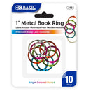 "1"" Assorted Color Metal Book Rings (10/Pack)"
