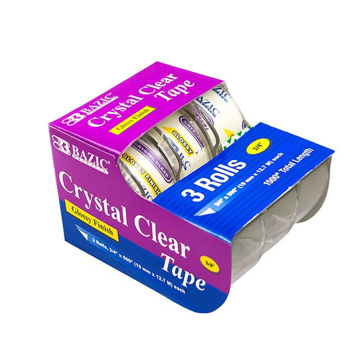 "3/4"" X 500"" Crystal Clear Tape (3/Pack)"