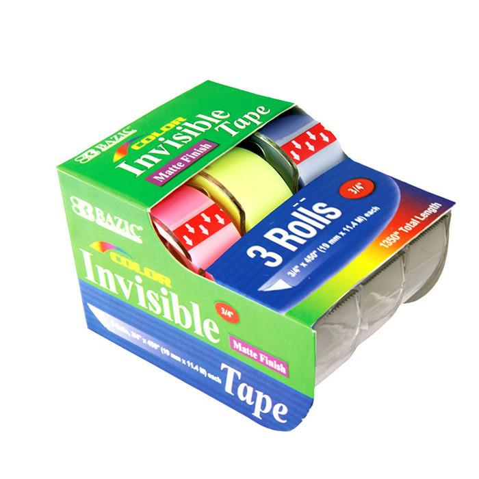 "3/4"" X 500"" Color Invisible Tape (3/Pack)"