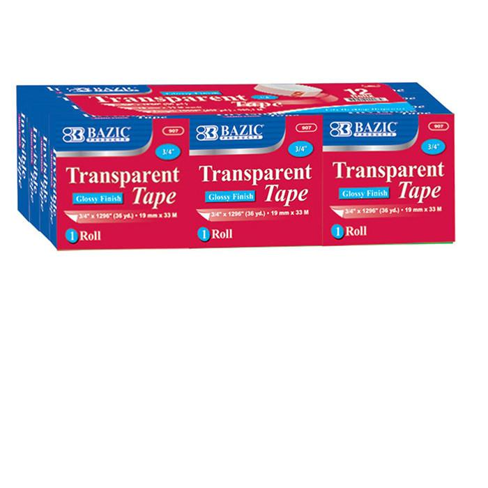 "3/4"" X 1296"" Transparent Tape Refill (12/Pack)"