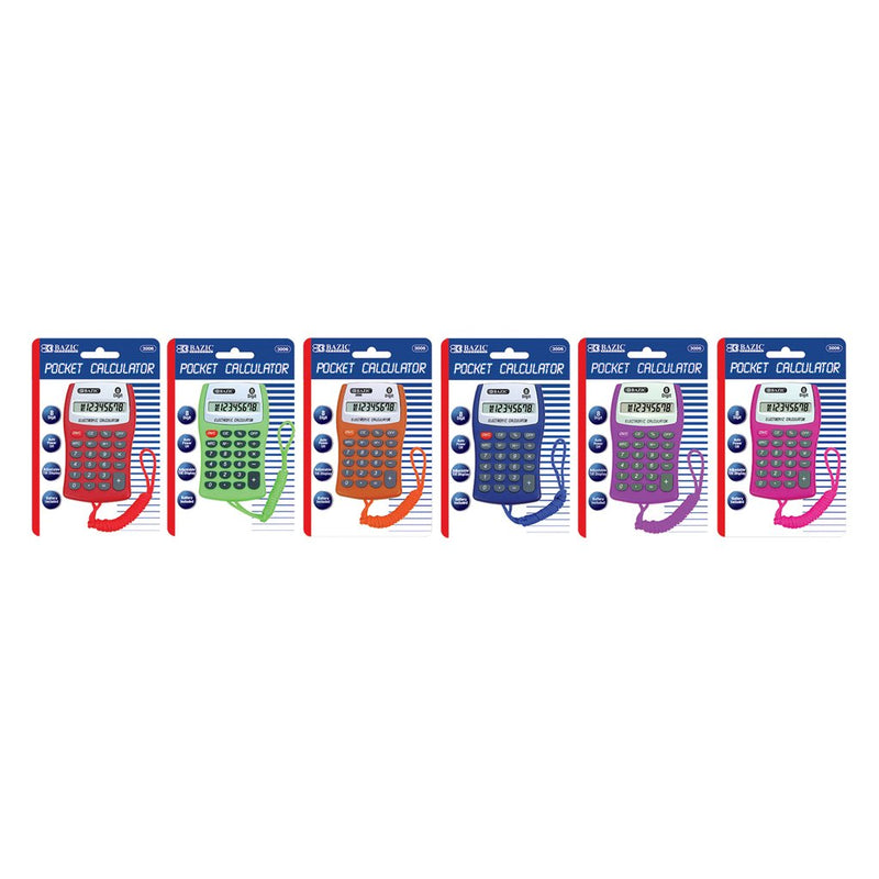 8-Digit Pocket Size Calculator W/ Neck String, 1-Pack
