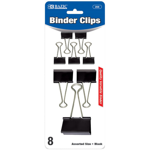 Assorted Size Black Binder Clip (8/Pack)