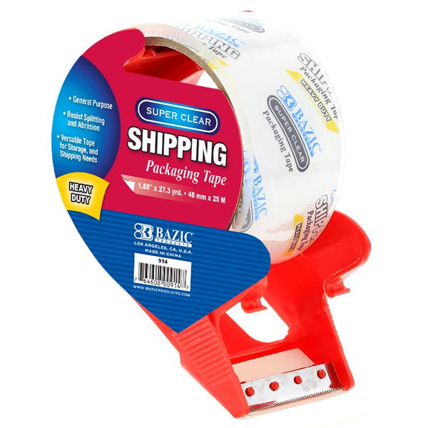 "1.88"" X 27.3 Yards Super Clear Heavy Duty Packing Tape With Dispenser"