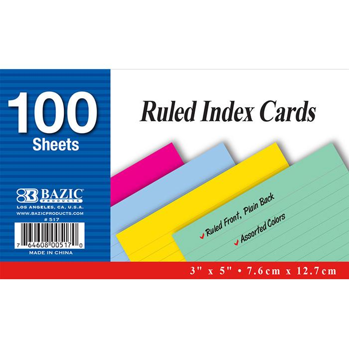 "100 Ct. 3"" X 5"" Ruled Colored Index Card"