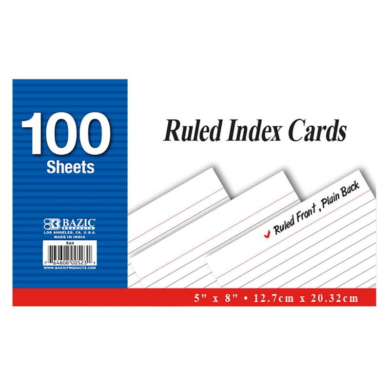 "100 Ct. 5"" X 8"" Ruled White Index Card"