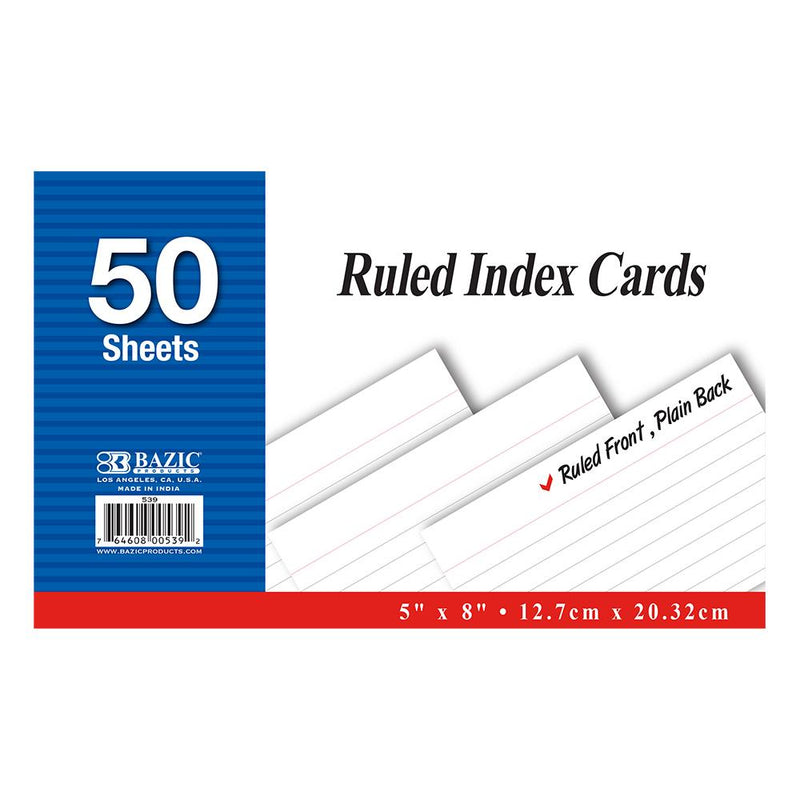 "50 Ct. 5"" X 8"" Ruled White Index Card"