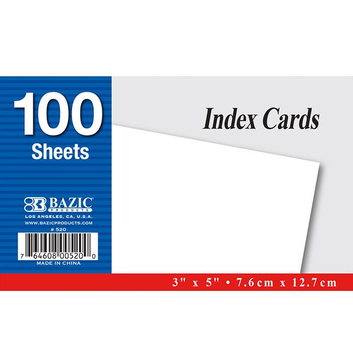 "100 Ct. 3"" X 5"" Unruled White Index Card"
