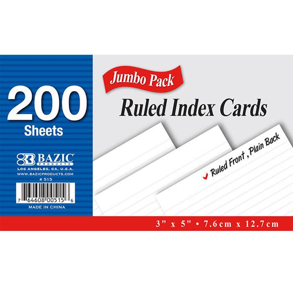 "200 Ct. 3"" X 5"" Ruled White Index Card"