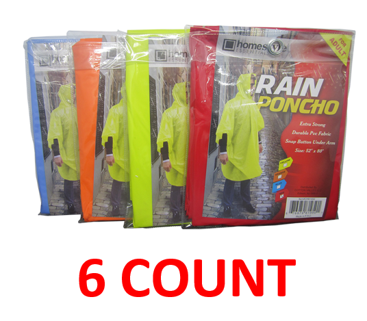 "PVC Rain Poncho With Snap Buttons For Adults, 52"" x 80"", 6-ct."