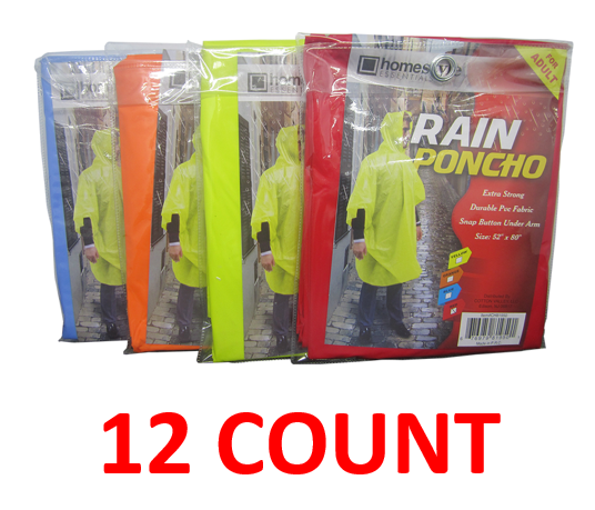 "PVC Rain Poncho With Snap Buttons For Adults, 52"" x 80"", 12-ct."
