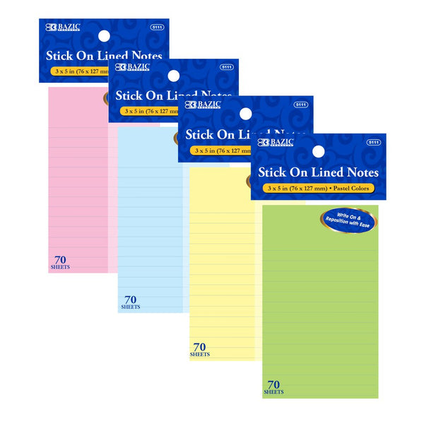 "70 Ct. 3"" X 5"" Lined Stick On Notes, 1-pack"