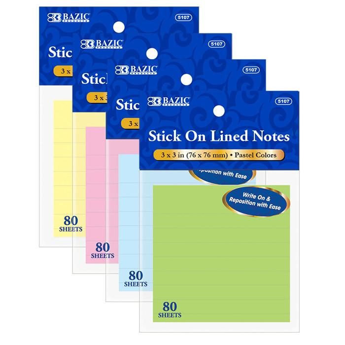 "80 Ct. 3"" X 3"" Lined Stick On Notes, 1-pack"