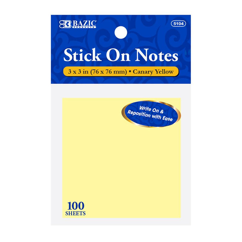 "100 Ct. 3"" X 3"" Yellow Stick On Notes"