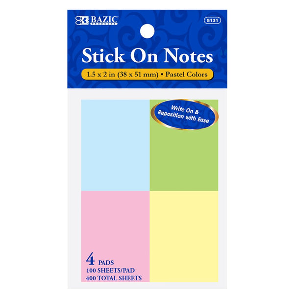 "100 Ct. 1.5"" X 2"" Stick On Notes (4/Pack)"