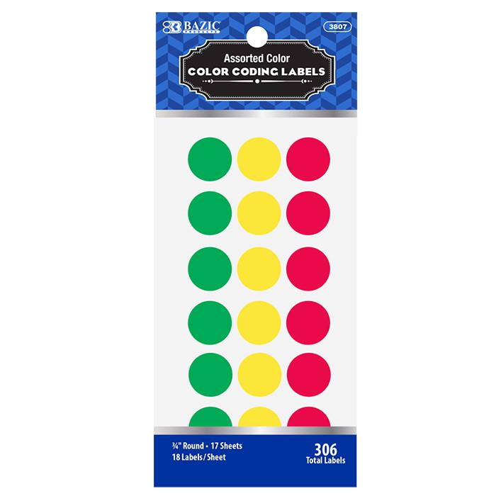 "Assorted Color 3/4"" Round Label (306/Pack)"