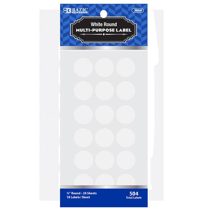 "White 3/4"" Round Label (504/Pack)"