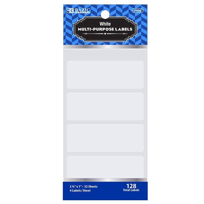 "2 3/4"" X 1"" White Multipurpose Label (128/Pack)"