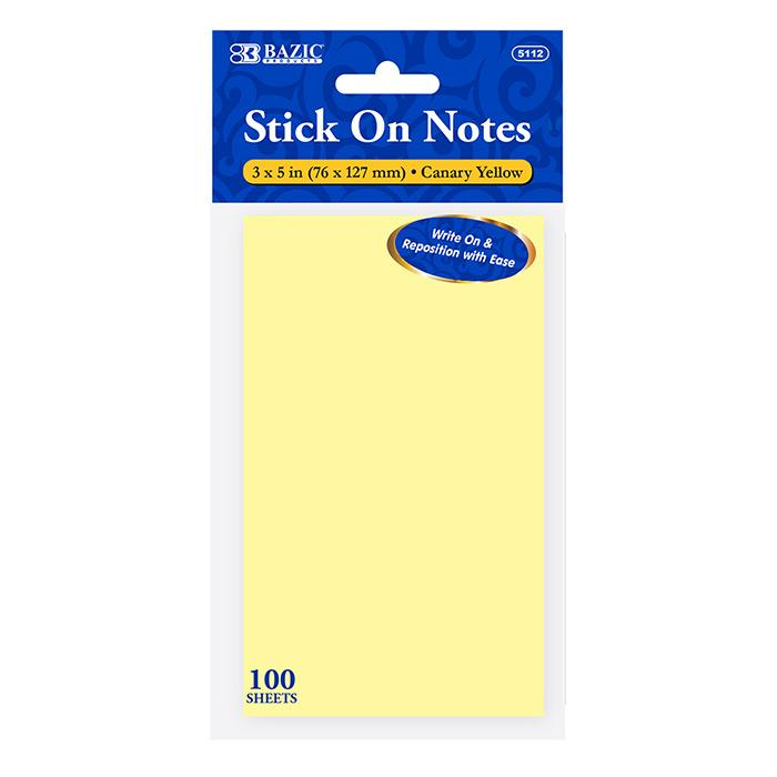 "100 Ct. 3"" X 5"" Yellow Stick On Notes"