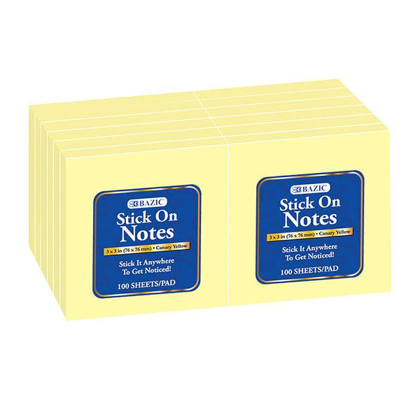 "100 Ct. 3"" X 3"" Yellow Stick On Notes (12/Shrink)"