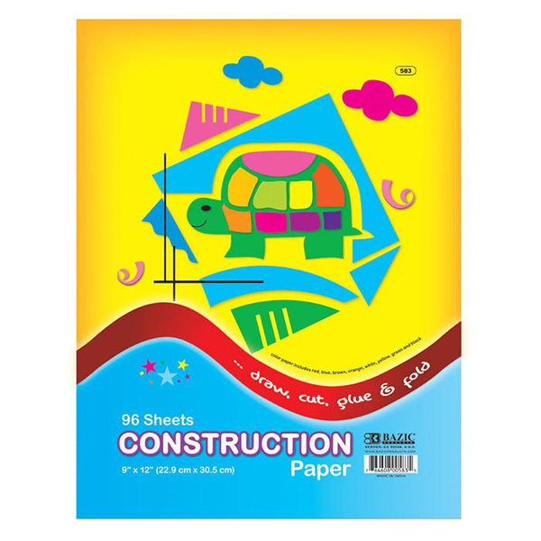 "9"" X 12"" Construction Paper, 96 sheets"