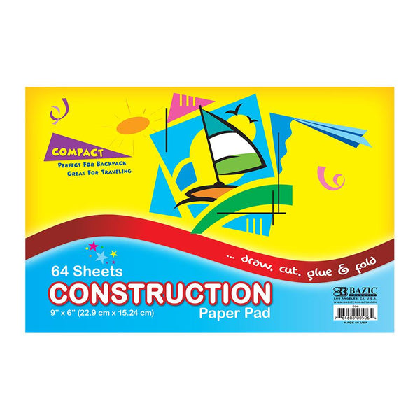 "6"" X 9"" Mini Construction Paper Pad, 64 sheets"